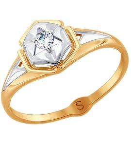 Кольцо из комбинированного золота с фианитом 017770