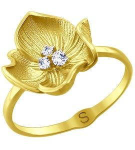 Кольцо из желтого золота с фианитами 017773-2