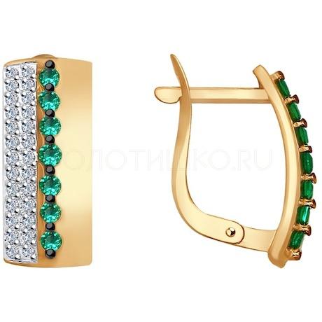 Серьги из золота с бесцветными и зелеными фианитами 027673
