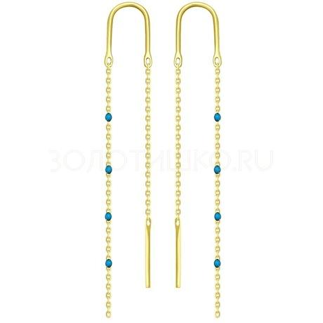 Серьги из желтого золота с эмалью 027790-2