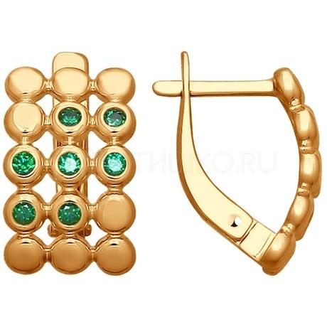 Серьги из золота с фианитами 027811