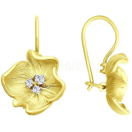 Серьги из желтого золота с фианитами 027845-2