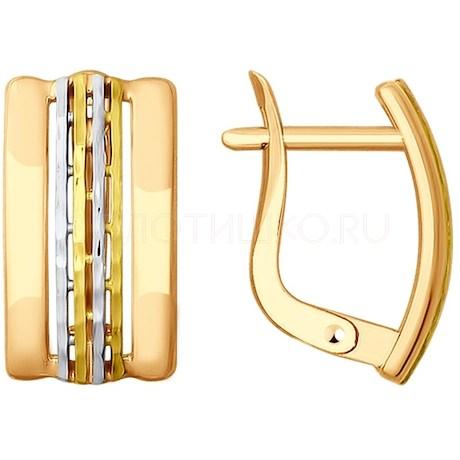 Серьги из золота с алмазной гранью 027861