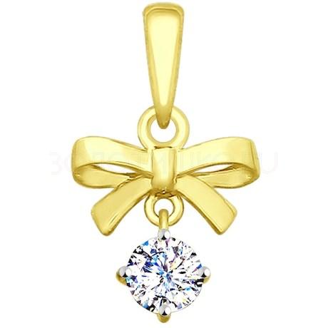 Подвеска из желтого золота с фианитом 035380-2