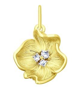Подвеска из желтого золота с фианитами 035389-2