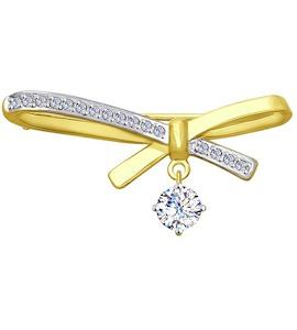 Брошь из желтого золота с фианитами 040235-2