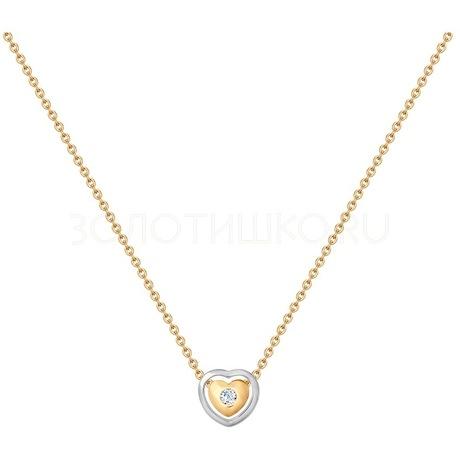 Колье из комбинированного золота с фианитом 070299