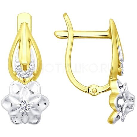 Серьги из желтого золота с бриллиантами 1020882-2