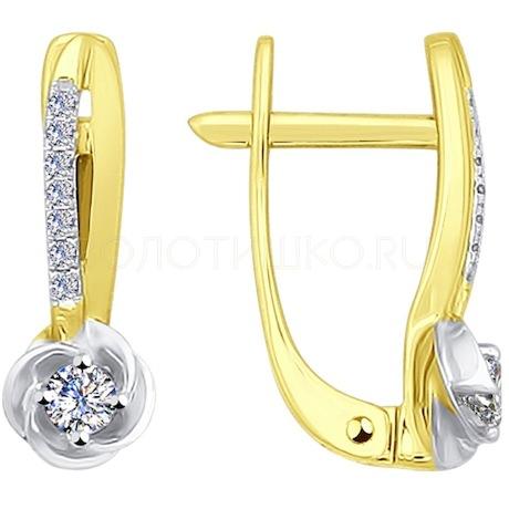 Серьги из желтого золота с бриллиантами 1020956-2