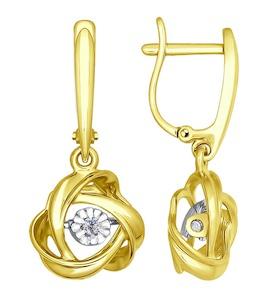 Серьги из желтого золота с бриллиантами 1021084-2