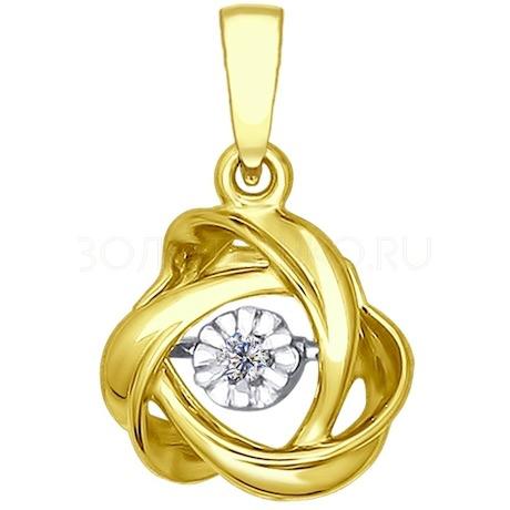 Подвеска из желтого золота с бриллиантом 1030556-2