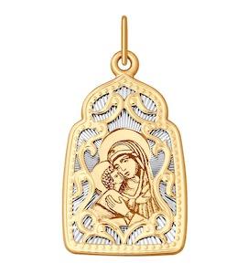 Подвеска из комбинированного золота с алмазной гранью и лазерной обработкой 104116