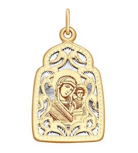 Подвеска из комбинированного золота с алмазной гранью и лазерной обработкой 104133