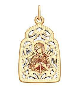 Подвеска из комбинированного золота с алмазной гранью и лазерной обработкой 104134