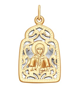 Подвеска из комбинированного золота с алмазной гранью и лазерной обработкой 104135