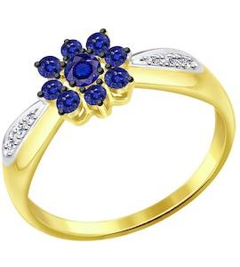 Кольцо из желтого золота с бриллиантами и сапфирами 2011078-2