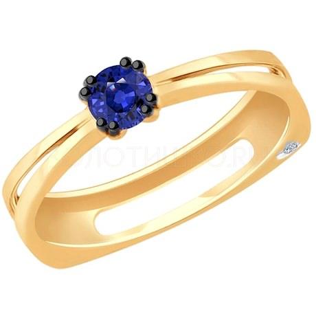 Кольцо из золота с бриллиантом и сапфиром 2011089