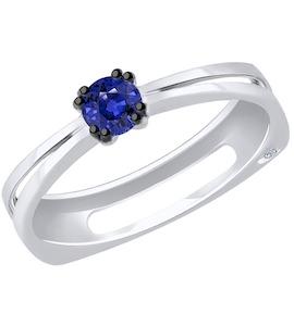 Кольцо из белого золота с бриллиантом и сапфиром 2011090