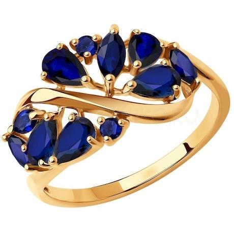 Кольцо из золота с синими корунд (синт.) 37714843