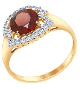 Кольцо из золота с гранатом и фианитами 37714982