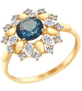 Кольцо из золота с синим топазом и Swarovski Zirconia 37714986