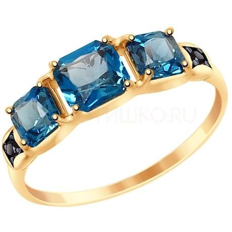 Кольцо из золота с синими топазами и фианитами 37715025