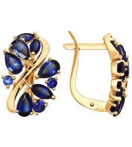 Серьги из золота с синими корунд (синт.) 37725135
