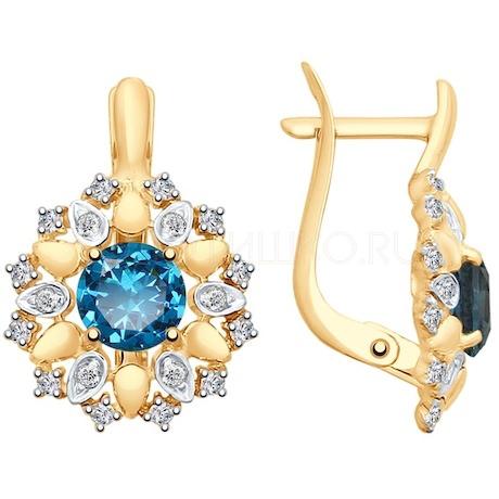 Серьги из золота с синими топазами и Swarovski Zirconia 37725337