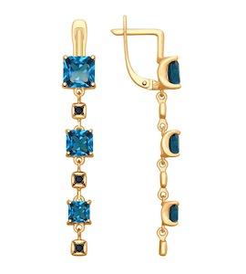 Серьги из золота с синими топазами и фианитами 37725343