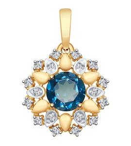 Подвеска из золота с синим топазом и Swarovski Zirconia 37731671