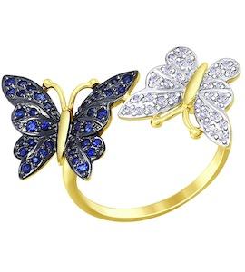 Кольцо из желтого золота с бриллиантами и синими корунд (синт.) 6012089-2