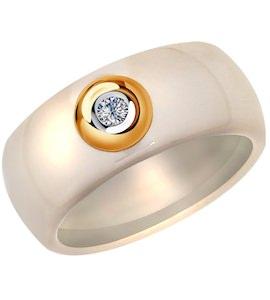 Кольцо из золота с бриллиантом и керамической вставкой 6015060