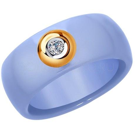 Кольцо из золота с бриллиантом и голубым керамической вставкой 6015061