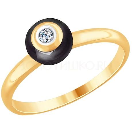 Кольцо из золота с бриллиантом и чёрным керамической вставкой 6015066