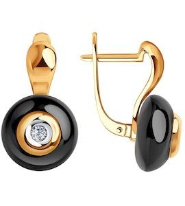 Серьги из золота с бриллиантами и чёрными керамическими вставками 6025051