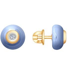 Серьги из золота с бриллиантами и голубыми керамическими вставками 6025055