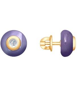 Серьги из золота с бриллиантами и сиреневыми керамическими вставками 6025065
