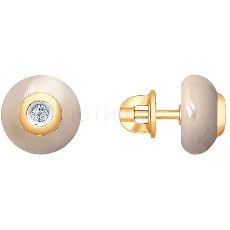 Серьги из золота с бриллиантами и керамическими вставками 6025067