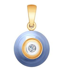 Подвеска из золота с бриллиантом и голубым керамической вставкой 6035032