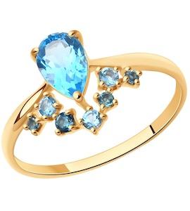 Кольцо из золота с голубыми и синими топазами 715005