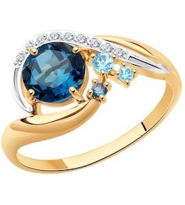 Кольцо из золота с голубыми и синими топазами и фианитами 715048