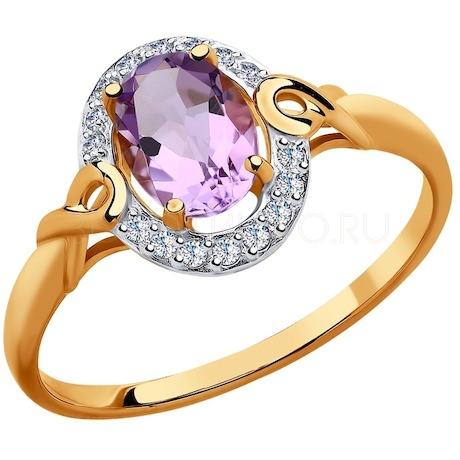 Кольцо из золота с аметистом и фианитами 715073