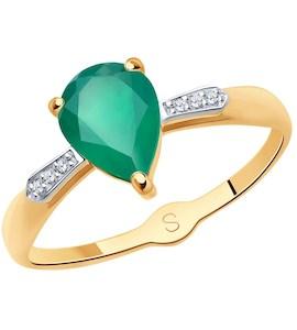 Кольцо из золота с агатом и фианитами 715074