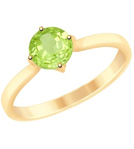 Кольцо из золота с хризолитом 715092