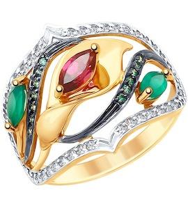 Кольцо из золота с миксом камней 715105
