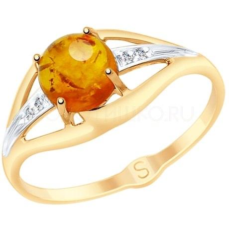 Кольцо из золота с янтарём и фианитами 715145