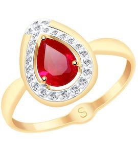 Кольцо из золота с красным корунд (синт.) и фианитами 715147