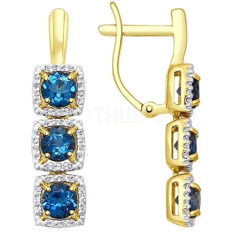 Серьги из желтого золота с синими топазами и фианитами 724177-2