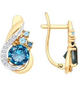 Серьги из золота с голубыми и синими топазами и фианитами 725390