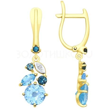 Серьги из желтого золота с голубыми и синими топазами и фианитами 725391-2